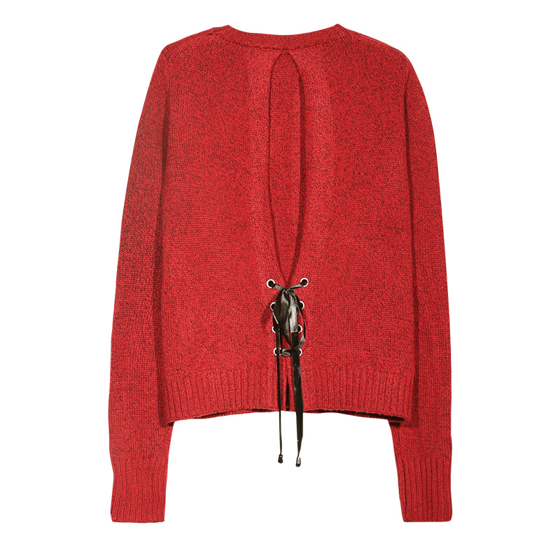 Fashion back lacing design ladies long sleeve red mohair sweater