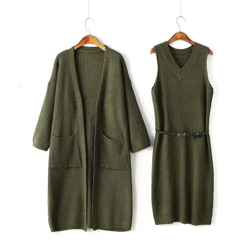 High quality fashion women knitwear formal official lady sweater dress set sweater coat