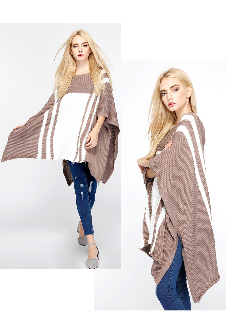 Fashionable knitting women wear high quality crew neck outfit design oem betwing poncho