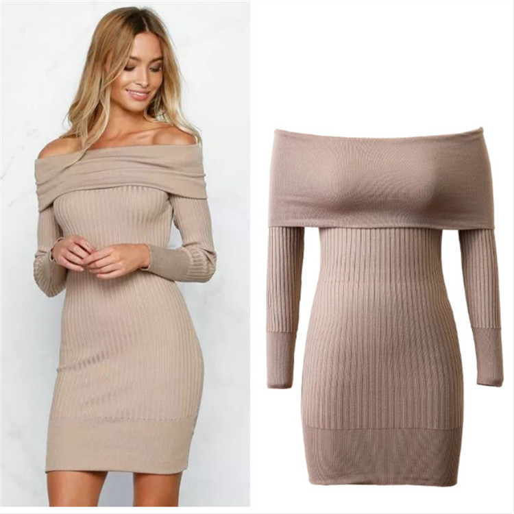 JM1092 Autumn knitted dress sexy off-shoulder cherrykeke soft confort lady dress