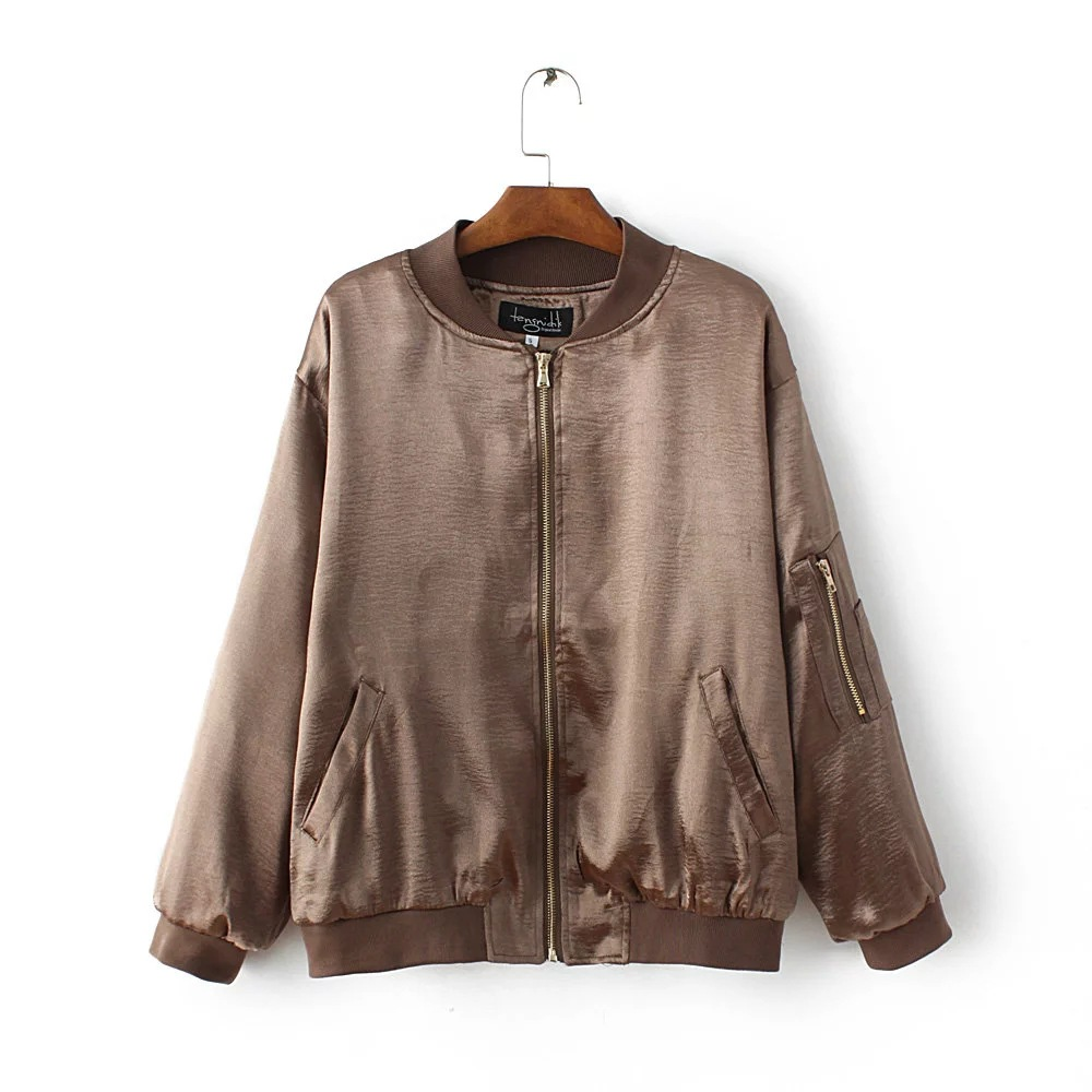 2016 new design for lady jacket high quality soft satin baseball uniform jacket