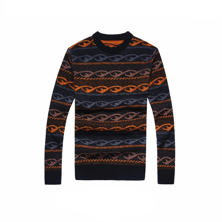 Fashion custom pattern design mens wool winter pullover sweater