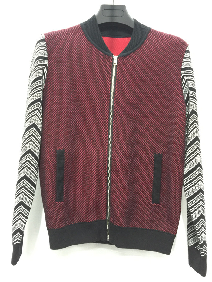 Latest sleeve splice design man zipper cardigan with side pocket