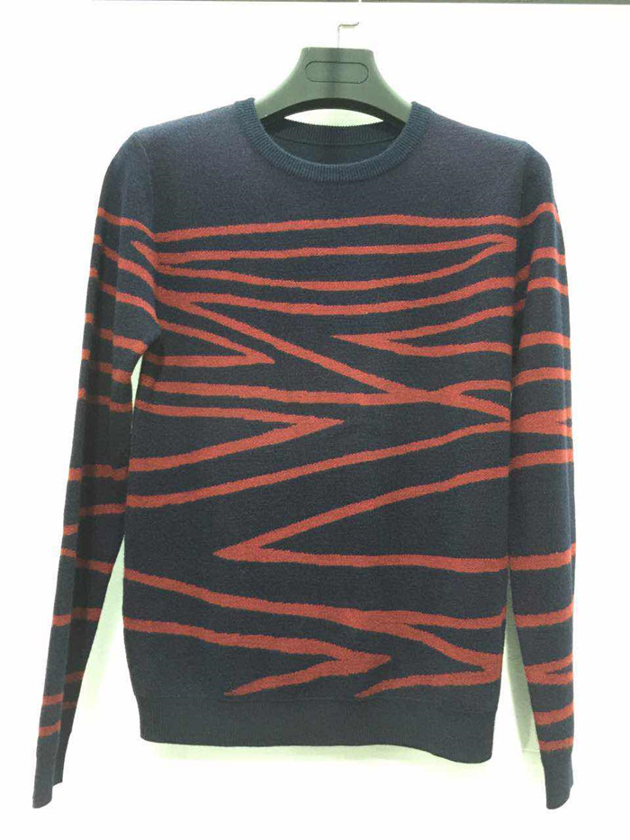 Hot sale design black and red knitted pattern long sleeve sweater for men