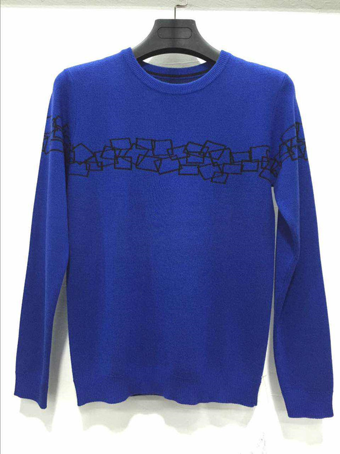 New design fall knitted pullover blue woolen sweater for men