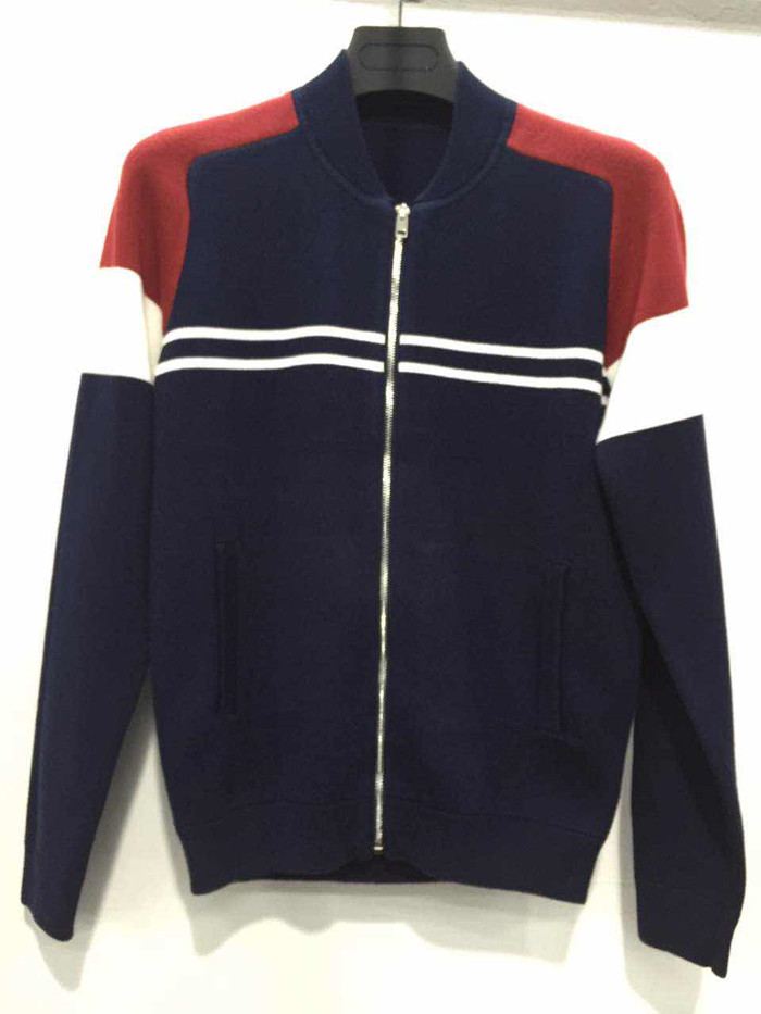 Special multi color design man casual zipper cardigan without hood
