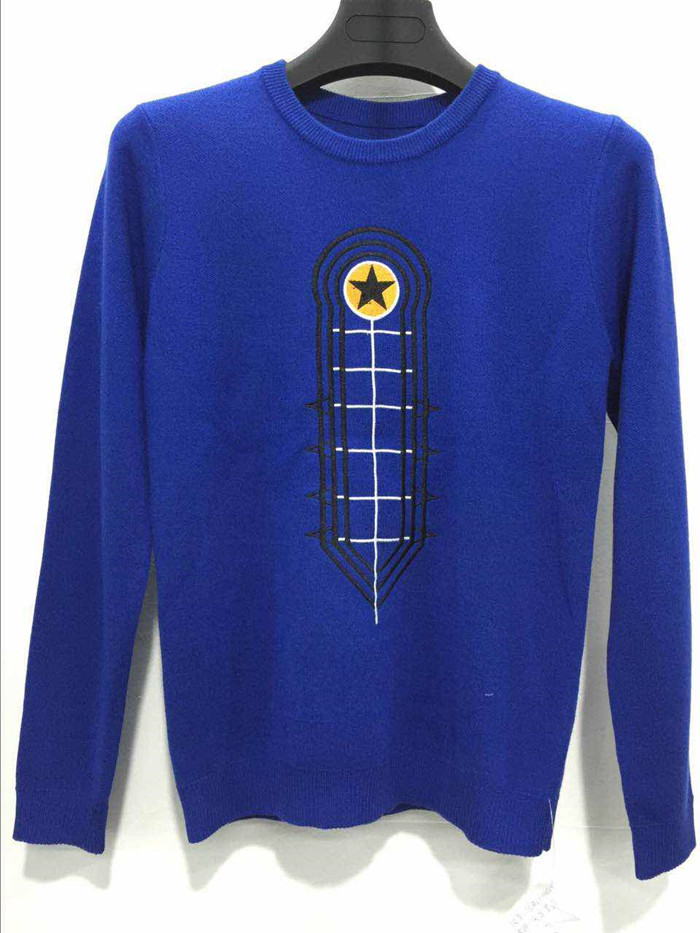 Luxury cashmere mens crew neck blue knitted sweater wholesale