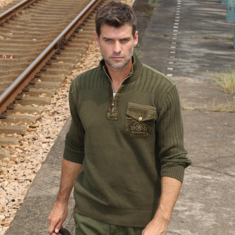 Custom plus size army sweater half zipper men wool commando sweater