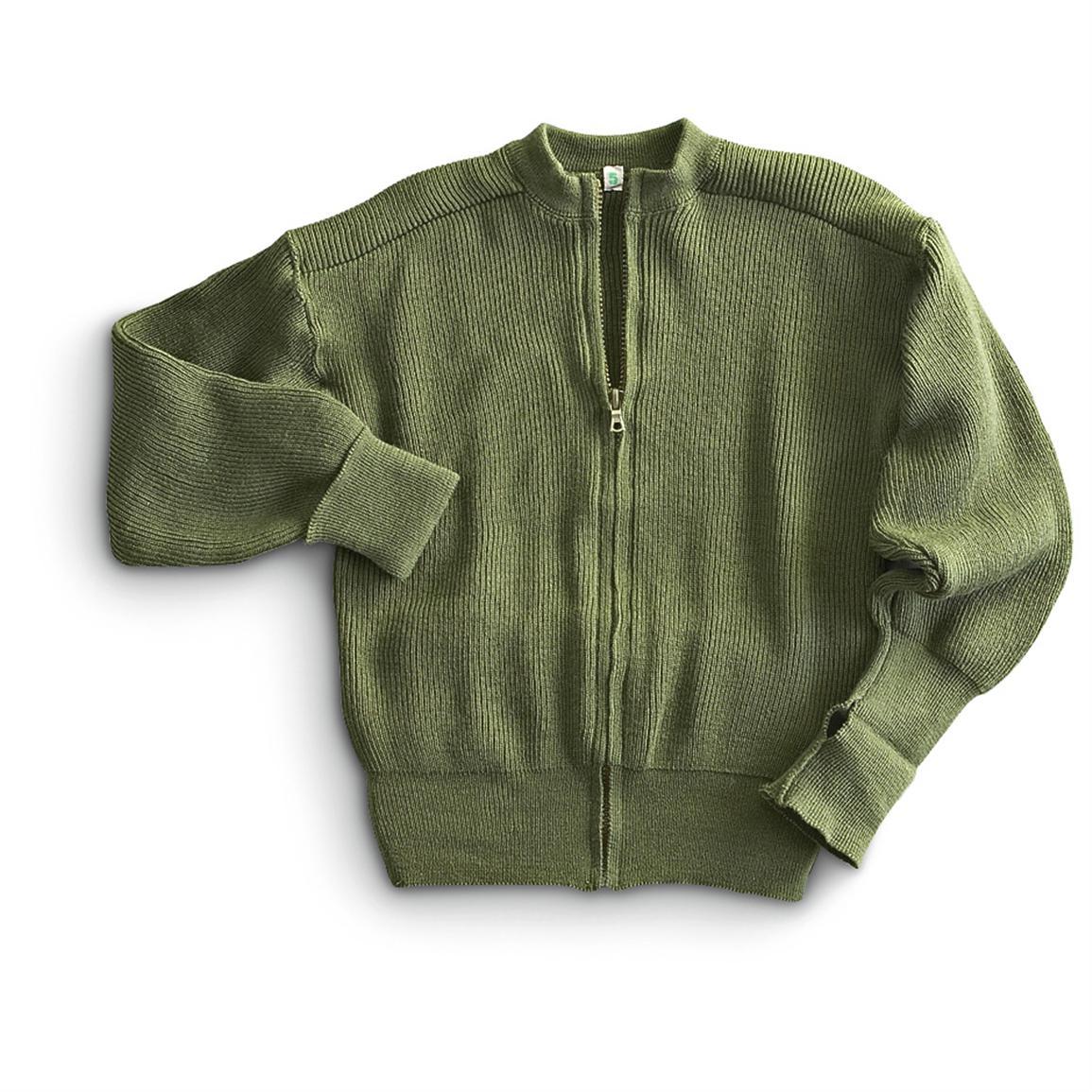 Custom unisex military cardigan sweater full zipper army green warm sweater