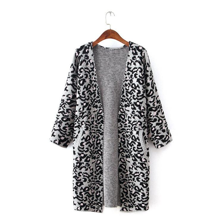 Stylish leopard design long loose brown cardigans woman