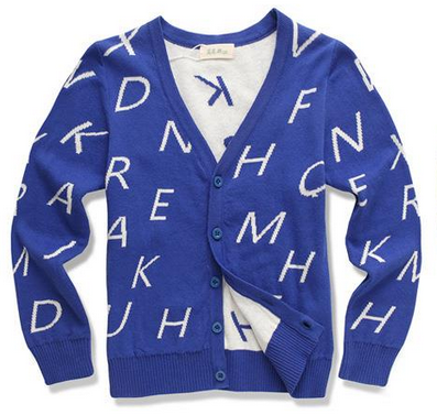 New style combed cotton fashionable long sleeve v-neck cardigan letters jacquard sweater design for kids cool boys cardigan sweater