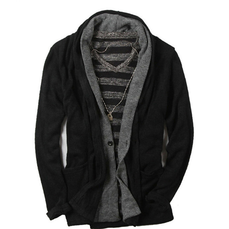 Western style black cardigan shawl neck mens winter coat