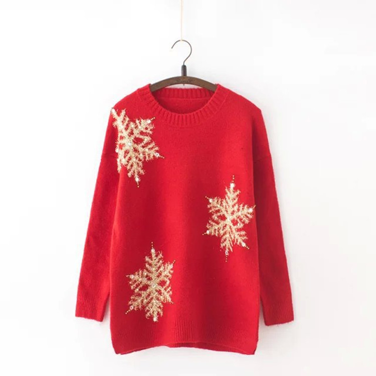 Fashion design red snowflake patterns ladies Christmas sweater