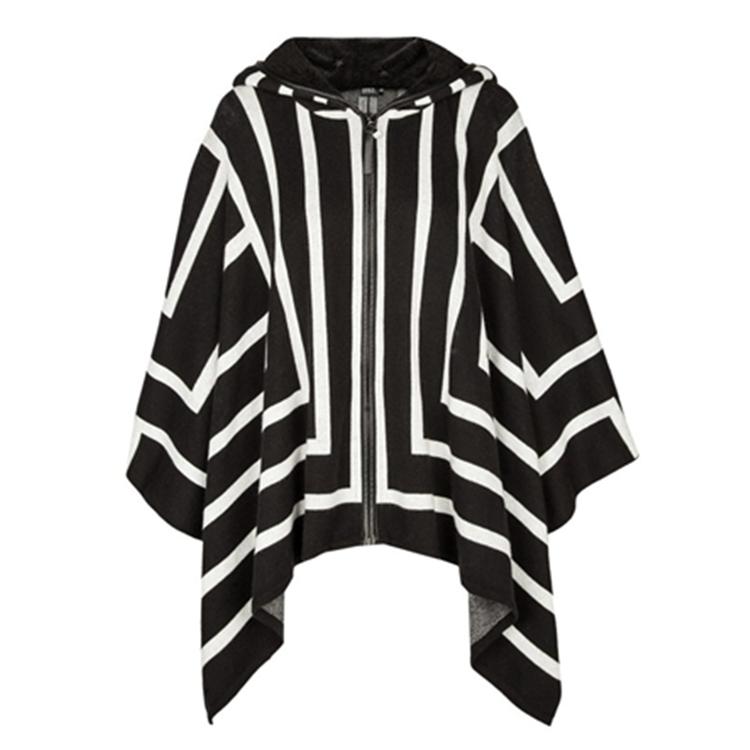 Black stripe womens knitted wool hooded cardigan zipper coat