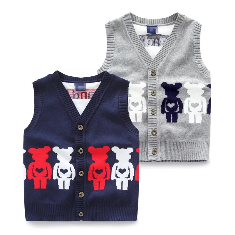 Top quality cartoon jacquard sweater kids sleeveless vest front-opening with button navy and grey boy sweaters