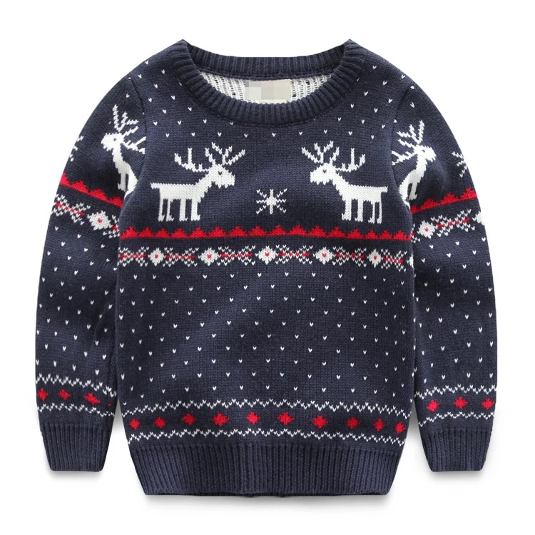 2017 New arrival kids fashion jacquard sweater deer pattern long sleeve pullover navy boys sweater