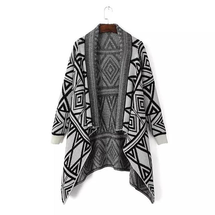 Knitted pattern cardigan sweater grey women shawls poncho