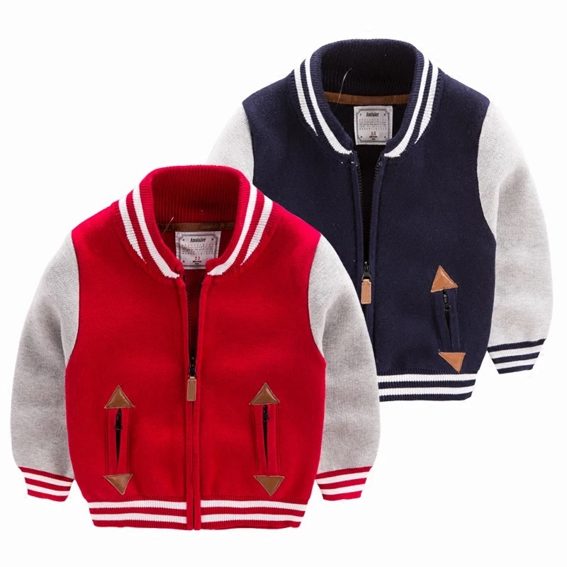Kids red and navy jacket sweater wholesale casual cardigan toddler boy crew neck zipper long sleeve woolen sweater coat design for boys