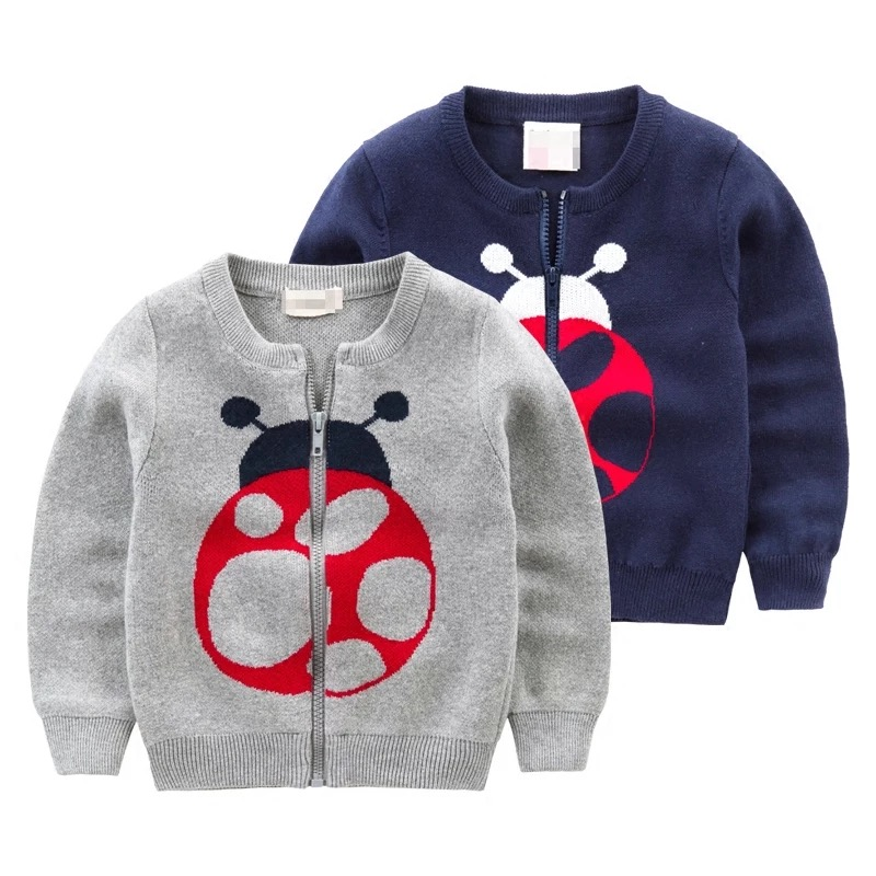 New collection for boys knitwear grey and navy blue winter sweater coat with zipper long sleeve insect pattern jacquard sweater wholesale