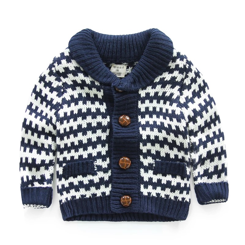 Warm winter kids woolen sweater design thick knitting toddler sweater cardigan shawl neck high quality boys sweaters on sale
