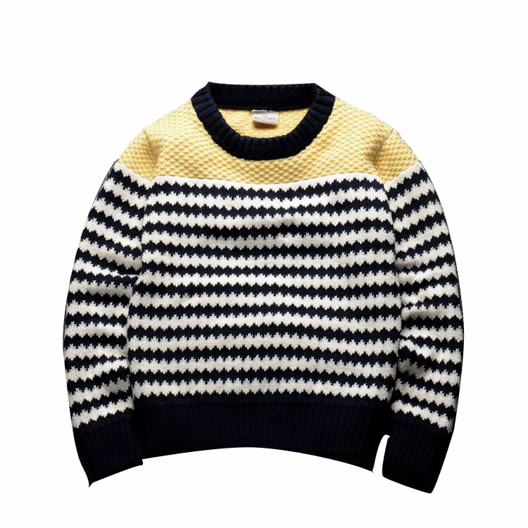 Long sleeve crew neck striped pullover children sweater