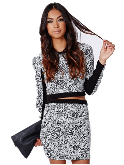 High quality elegant ladies knitwear wholesale fashionable Atiya textured knit paisley blouse and skirt