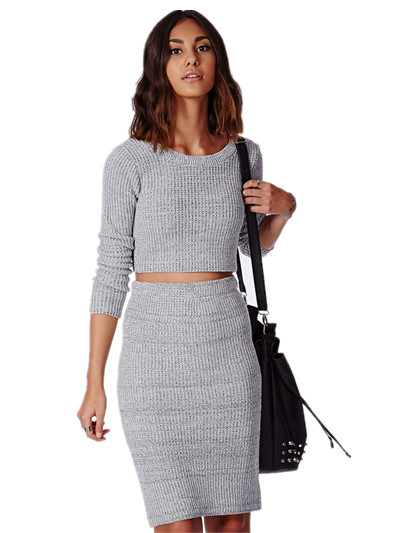 Stylish casual knitwear ladies knit scoopt neck crop top with skirt grey color elegant customied suits for young ladies