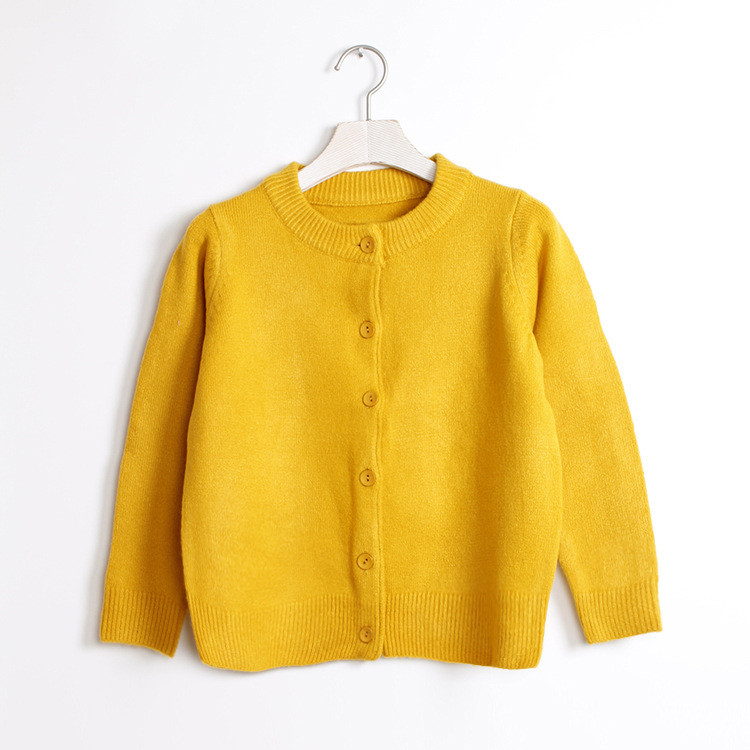 Casual office style yellow knit sweater cardigan without hood