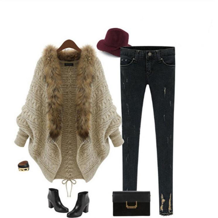 Korean sweater with fur collar design winter women cardigan
