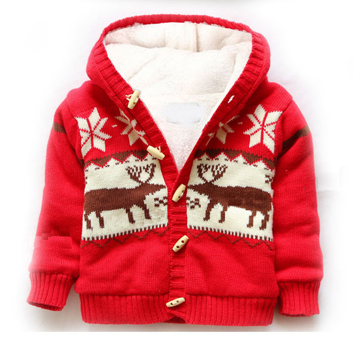 Giraffe pattern children red hooded Christmas sweater coat