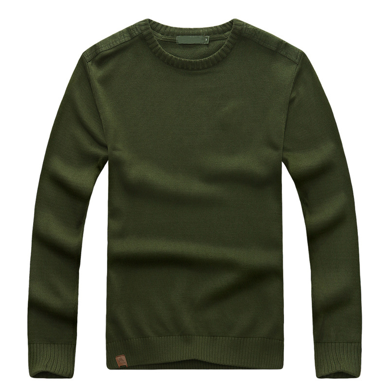 Casual military green outdoor pullover wool sweater shirt