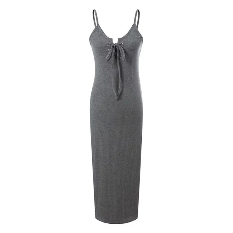 Sexy deep V neck design grey sleeveless ladies long dress