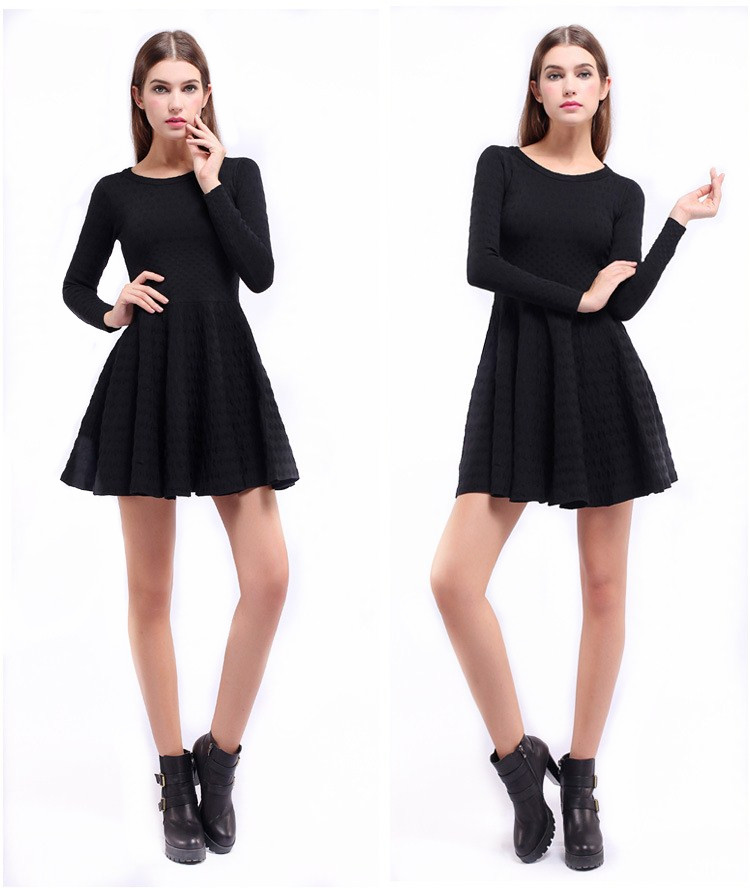 2016 Hot selling products ladies fashion autum dress solid color basic knitwear