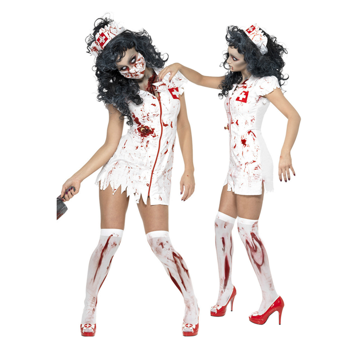 Sexy White Dress Ghost Nurse Cosplay Halloween Costumes China Wholesale