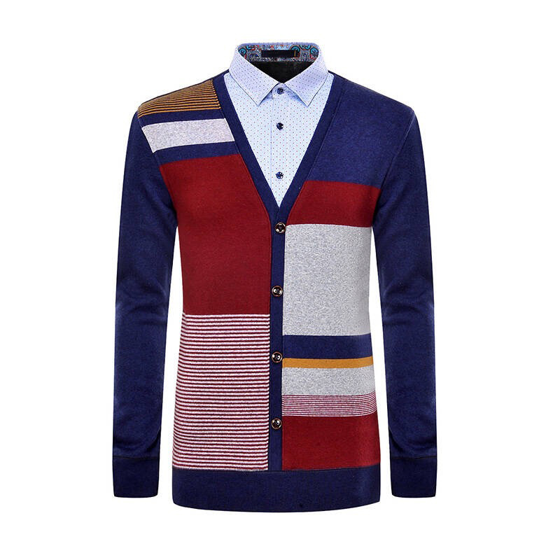 2017 latest design 100% cotton mens button up cardigan