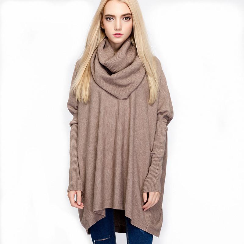Newest lady poncho design fashion turtleneck tops Europe style cashmere sweater custom made