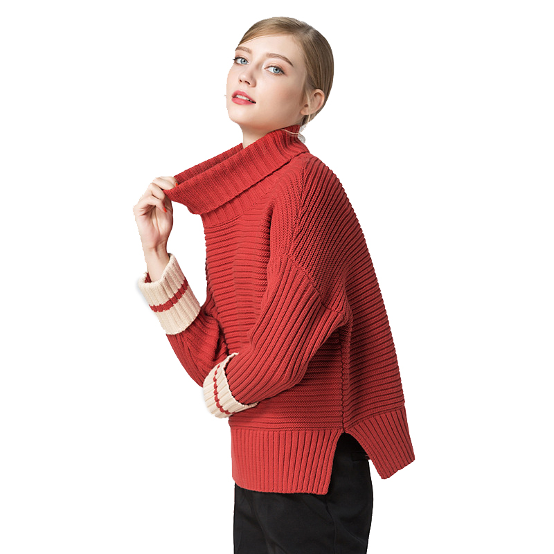 2018 latest autumn winter turtleneck lady knitwear side slipt drop sleeve sweater