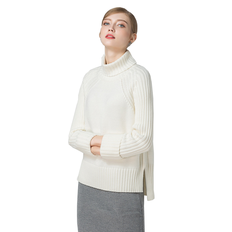 2018 new design ladies OEM sweater design cashmere blend turtleneck knitted pullover