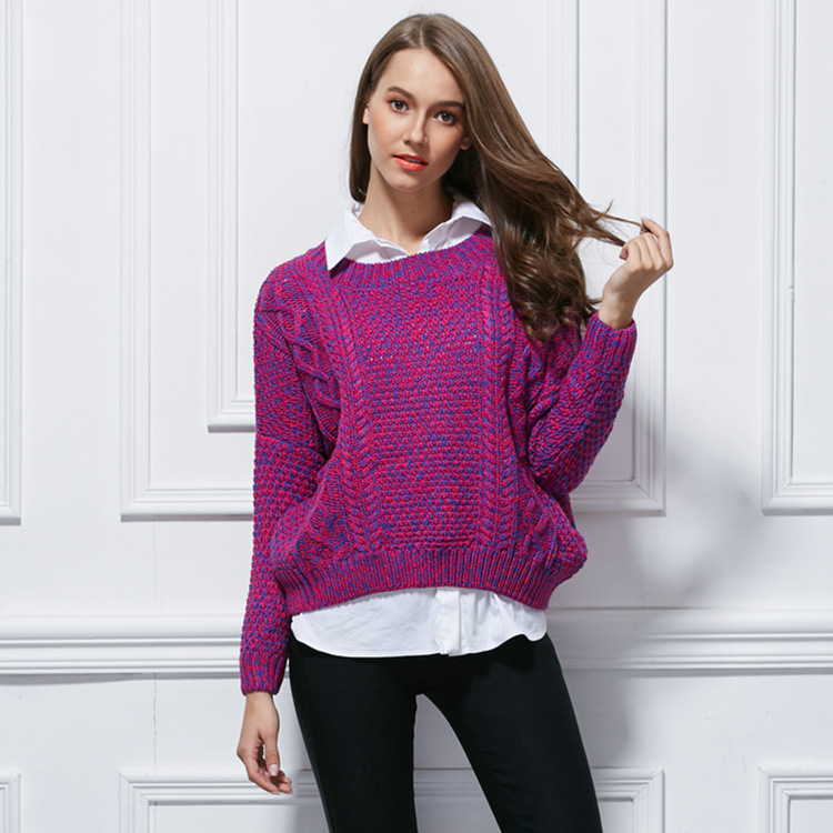 Latest fancy knitting design colorful thick sweater for lady