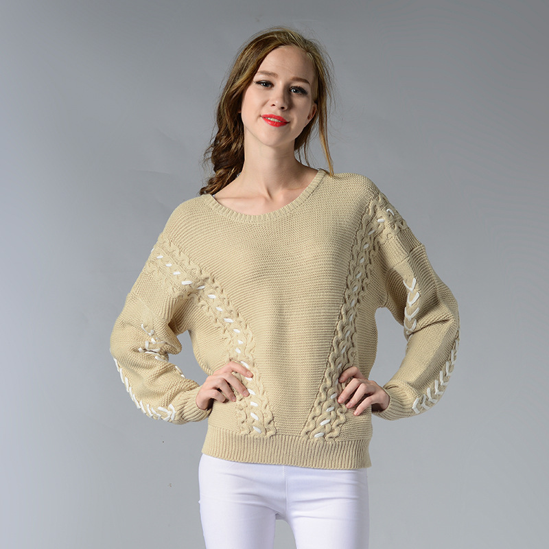 OEM hand make cable knitting woolen sweater for women