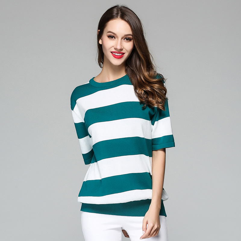 Hot sell women spring and summer half sleeve strip knitwear