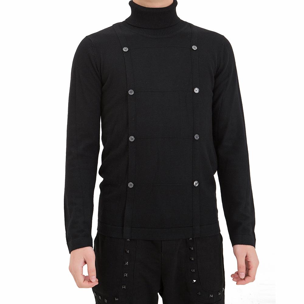 OEM black color turtleneck men sweater design button applicant 12GG  woolen winter warm knitwear